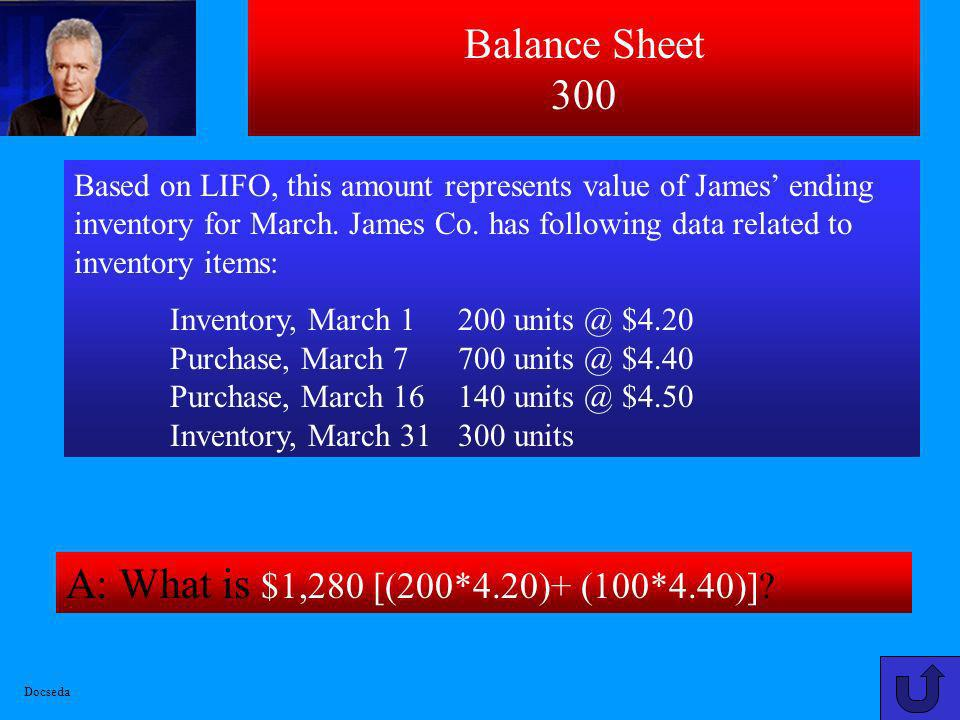 Balance Sheet 300 A: What is $1,280 [(200*4.20)+ (100*4.40)]